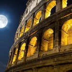 Colosseum at night time
